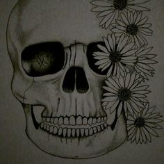 Original Artwork by Kyrie Davenport, jewellartistry. Skull, Flowers Graphite Drawing