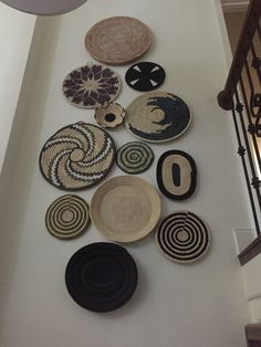 - Stairway Designs & Ideas - Wall of baskets from Ethiopia. Wall of baskets from Ethiopia. Decoration Hall, Basket Decoration, African Interior Design, Baskets On Wall, Wall Basket, Deco Boheme, Cool Walls, Plates On Wall, Stairways