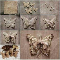 How to Make Beautiful Burlap Butterflies thumbDIY Burlap Butterfly Ornaments, Magnets, Etc.Almost every one of us is familiar with term burlap. Burlap is basically a woven fabric usually made from the skin of jute plant or sisal fibers. Burlap Fabric, Burlap Lace, Burlap Flowers, Diy Flowers, Fabric Flowers, Paper Flowers, Hessian, Woven Fabric, Burlap Ribbon