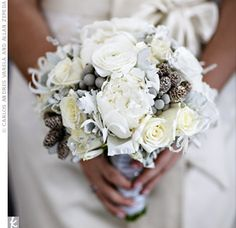 winter white bouquet- peonies, nerine lilies, roses, silver brunia and miniature pinecones - Pretty!!