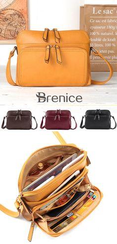 Brenice Women Solid Multi-pockets Casual PU Leather Crossbody Bag is  designer 8fe212ea58a56