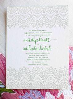"""Bella Figura """"Istanbul Lace"""" wedding invitation with designsgirl calligraphy"""