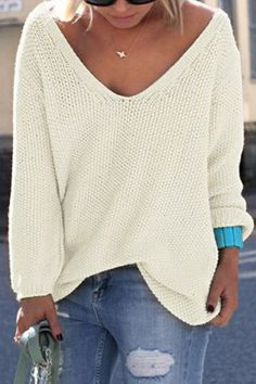 Double 11^^ BIG SALE!!!Classic Design White Loose Plunge Sweater - US$19.95 -YOINS
