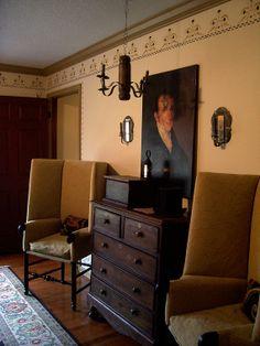 LB the primitivestitcher Master Bedroom~~LB… Colonial Bedroom, Colonial Furniture, Primitive Furniture, Primitive Country Homes, Primitive Living Room, Prim Decor, Country Decor, Primitive Decor, Antique Interior