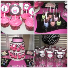 hot pink spa party; cake pops that look like nail polish!! Great idea for bridal shower or even a 30th bday party ;)