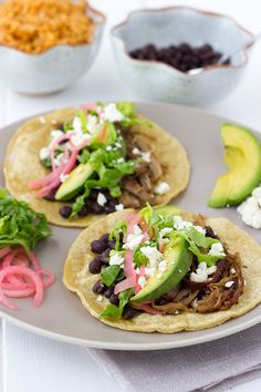 Slow-Cooker Sweet Pork Tacos with Black Beans {Gluten-Free} | Meaningful Eats
