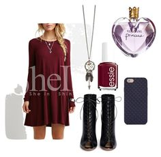 """""""maroon baby☮"""" by courtney1121 ❤ liked on Polyvore featuring Gianvito Rossi, Essie, Vera Wang and Tory Burch"""