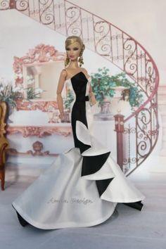 Amon-Design-Gown-Outfit-Dress-Fashion-Royalty-Silkstone-Barbie-Model-Doll-FR