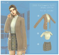 RYLLAE - 2000 Followers Gift January 2019 Set Sims Four, Sims 4 Mm Cc, Sims 4 Mods Clothes, Sims 4 Clothing, Pelo Sims, Muebles Sims 4 Cc, Sims 4 Game Mods, Sims 4 Gameplay, Sims 4 Dresses