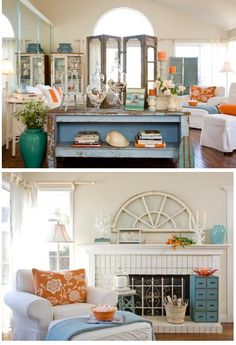 love the pops of orange and turquoise