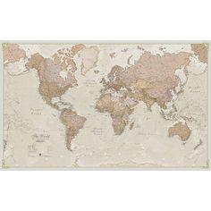 Maps International Giant World Map - Antique World Map Poster - Laminated – x 46 Giant World Map, World Map Decor, World Map Poster, World Map Wall Art, Wall Maps, Map Art, Wall Mural, Vintage Stil, Looks Vintage