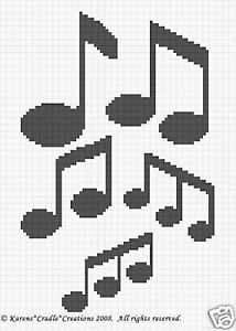 Crochet Music Pattern – Free Patterns For Crochet Crochet Afghans, Crochet Motifs, Crochet Quilt, Tapestry Crochet, Afghan Crochet Patterns, Crochet Chart, C2c Crochet, Free Crochet, Knitting Patterns