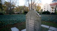 The gravestone of German philosopher Moses Mendelssohn is seen beside the site of the mass grave at Grosse Hamburger Strasse Jewish cemetery...