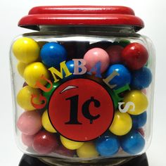 Fun Retro Red 1 Cent Gumball Machine by Continental Gum of