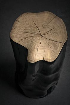 HORNY CHUNK _ by Jesse Sanderson. In search of ways to emphasize the authentic forms of the materials Jesse slightly polished the 'Horny Chunk' trunks in order to preserve the sensual shapes of the wood. Unique Furniture, Wooden Furniture, Table Furniture, Furniture Design, Log Coffee Table, Rustic Coffee Tables, Log Stools, Wooden Stools, Wooden Wall Design