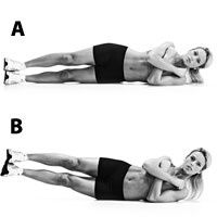 Goodbye muffins! OBLIQUE V-UP  Lie on your side with your body in a straight line. Fold your arms across your chest. Keeping your legs together, lift them off the floor as you raise your top elbow toward your hip. The range of motion is short, but you should feel an intense contraction in your obliques.  10 repetitions each side [Beginner]