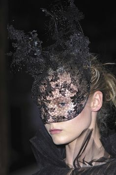 Valentino Fall 2009 Couture Philip Treacy Lace Masks | The Terrier and Lobster