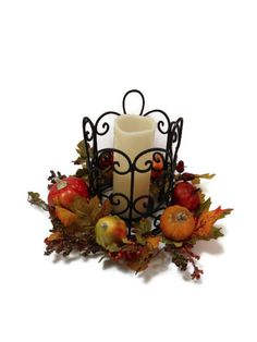 Thanksgiving Fall Candle Wrought Iron Table Centerpiece Pumpkin Gourd Autumn Home Decor Floral Arrangement on Etsy, $64.50