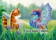 I saw you first by Sarah Clemens - dragons, cats http://www.clemensart.com/images/sawyoufirst.jpg