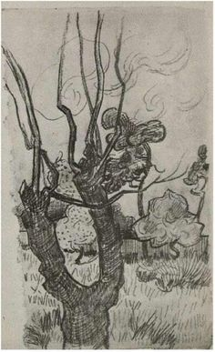 Bare Treetop in the Garden of the Asylum, A by Vincent Van Gogh  Drawing, Pencil  Saint-Rémy: October - 5-22, 1889 http://www.vangoghgallery.com/catalog/Drawing/800/Bare-Treetop-in-the-Garden-of-the-Asylum,-A.html