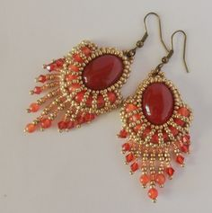 """Embroidered Pearled Beaded earrings """"Héliopolis"""", cornelian, Pearl Quartz melon, Spinning tops Swarovsky, Loose stones, Orange, Gold satined - pinned by pin4etsy.com"""
