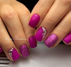 Beautiful nails 2017, Bright pink nails, Bright summer nails, Nails ideas 2017, Nails with rhinestones ideas, Raspberry nails, Summer bright nail design, Summer gel polish 2017 #Bestsummernails