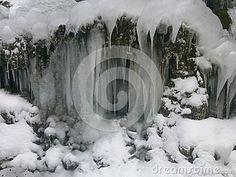 Winter frozen waterfall in the bakony.