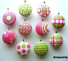 Set of 4- Bright Pink-Light Pink-Bright Green Drawer Knobs-Mix 'N Match-You choose which designs