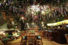 One of Britain's coolest restaurants is decked out in spring florals. (Literally.)