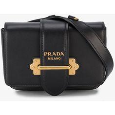 Prada Cahier Belt Bag (€1.545) ❤ liked on Polyvore featuring bags, prada bags, waist bag, leather strap bag, hardware bag and fanny bag