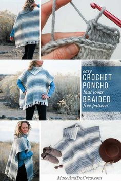 """This free women's crochet poncho pattern has a """"braided"""" texture thanks to its knit-looking crochet stitch. Click to learn from the step-by-step tutorial featuring Lion Brand Scarfie yarn. #crochet #freepattern #tutorial #howto #poncho #modern #knitlooking #knit #lionbrandyarn"""