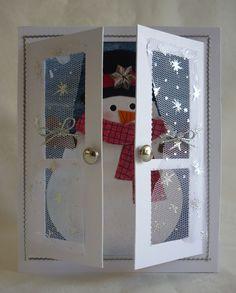Snowman Window - Mementoes in Time Christmas Card Crafts, Homemade Christmas Cards, Christmas Cards To Make, Xmas Cards, Christmas Art, Diy Cards, Christmas Decorations, Karten Diy, Window Cards