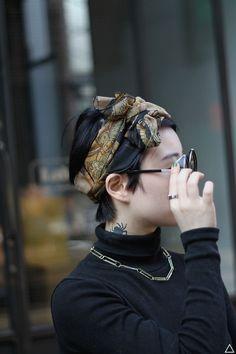 Pixie cut with headscarf