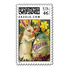 Gelukkig Paaschfeest | Easter Bunny Painting Egg Postage Stamps