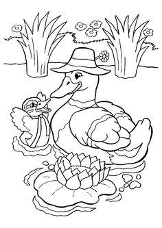 Mère Canard et son bébé nageant près d'un joli nénuphar, à colorier