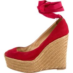 christian louboutin canvas wedge sandals