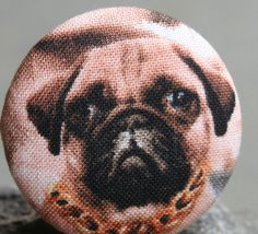 Name badge fabric covered badge reels PUG design by debsdesigns401, $7.50