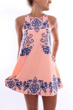 Vestido Curto - Estampado - Rosa - Short Dress - Rose