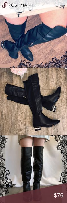 244a25f512a Catherine Malandrino Over Knee Pearl Boot pasta Catherine Malandrino Over  the Knee Pearl Heel Boots Faux
