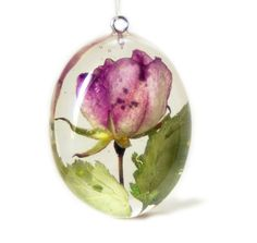 Pink Rose Jewelry - Flower Jewelry - Necklace Charm -Green Resin Pendant - White Jewelry - Handmade Flower Jewelry - Real Flower Jewelry