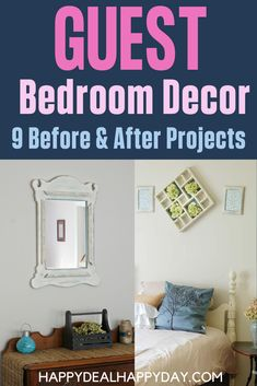 "Guest Bedroom Decor on a Budget - here are 9 simple projects with before and after pictures on how I re-decorated my guest room for less than $200! It's easier to update ""outdated"" furniture than you might think! I turned hand-me-down furniture and decor items into a cute farmhouse style guest room! #decorateonbudget #frugaldecor #upcycle #refinishfurniture #updateoldfurniture #guestroommakeover #roommakeoveronabudget #distressedwood #thriftstorefurniture #updatethriftstorefurniture Simple Projects, Diy Home Decor Projects, Cool Diy Projects, Home Improvement Projects, Bedroom Decor On A Budget, Thrift Store Furniture, Home Budget, Diy Apartment Decor, How To Distress Wood"