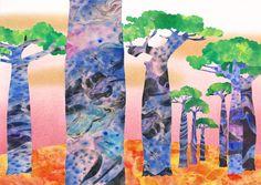 Orie's scenery art. #バオバブ #バオバブの絵 #バオバブ #イラスト #アート #art #おしゃれイラスト Painting, Painting Art, Paintings, Painted Canvas, Drawings