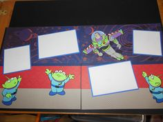 Disneyland album Toy Story 2 page layout with Buzz Lightyear and the 3 Aliens using the Toy Story cartridge.
