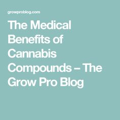 The Medical Benefits of Cannabis Compounds – The Grow Pro Blog