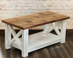 Table basse de ferme en bois de récupération - X détail