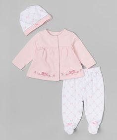 Loving this Pink Ribbon Flowers Cardigan Set - Infant on #zulily! #zulilyfinds