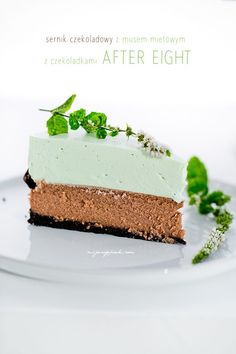 Sernik czekoladowy z musem miętowym After Eight Mint Chocolate Cheesecake, Mint Cheesecake, Chocolate Cream, Cheesecake Recipes, Chocolate Cakes, Cupcakes, Cake Cookies, Cupcake Cakes, Mousse
