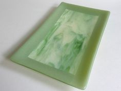 Fused Glass Platter in Willow and Streaky Green and Cream