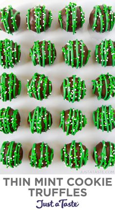 Thin Mint Cookie Truffles Turn Girl Scout Cookies into a nobake treat with this quick recipe for Thin Mint Cookie Truffles topped with sprinkles Recipe Using Girl Scout Cookies, Girl Scout Cookies Recipes, Mint Recipes, Candy Recipes, Cookie Recipes, Dessert Recipes, Sweet Recipes, Girl Scout Thin Mints, Mint Desserts
