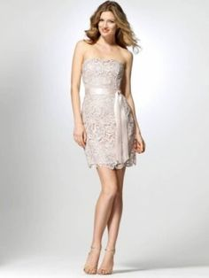 Strapless Champagne Lace Dress With lace overlay [#O5036C35559670] - $178.00 : Crazeparty.com, Dare to be Different!